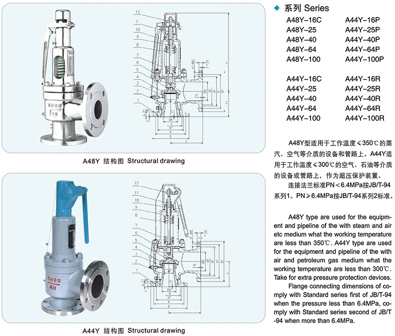 A44Y A48Y Flanged type Spring loaded safety valve