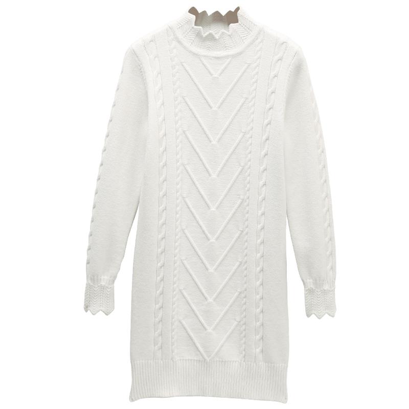 万国iwc2017秋冬季新款韩版白色加厚长款毛衣裙ESP866