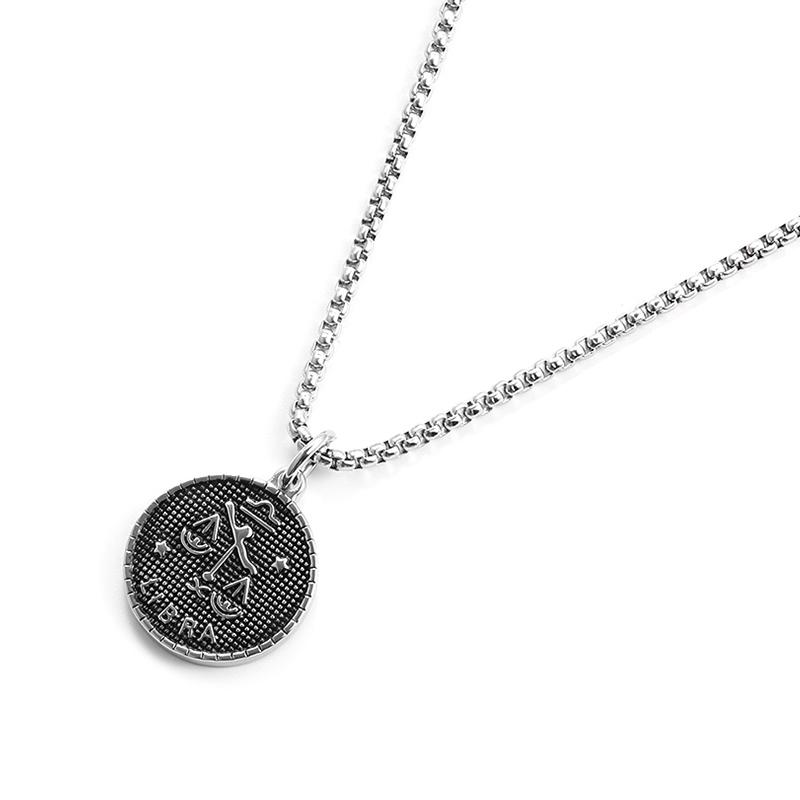 十二星座硬币项链,简约男生礼物