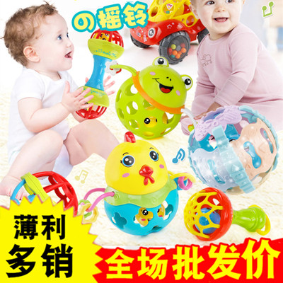 Baby hand grabbell baby church tidy rattle puzzle fitness soft rubber color colorful bell ball baby toys
