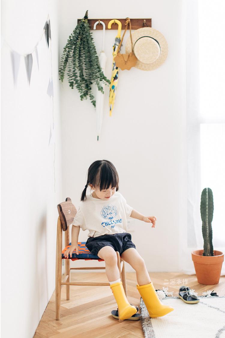 二黑木作 艾诺诺儿童椅 北欧日式靠背椅宝宝餐椅小板凳换鞋凳亲子