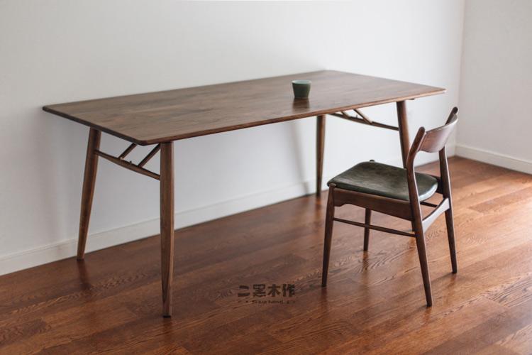 「二黑木作/好吃 餐桌」原创设计北欧实木樱桃木黑胡桃木书桌餐桌