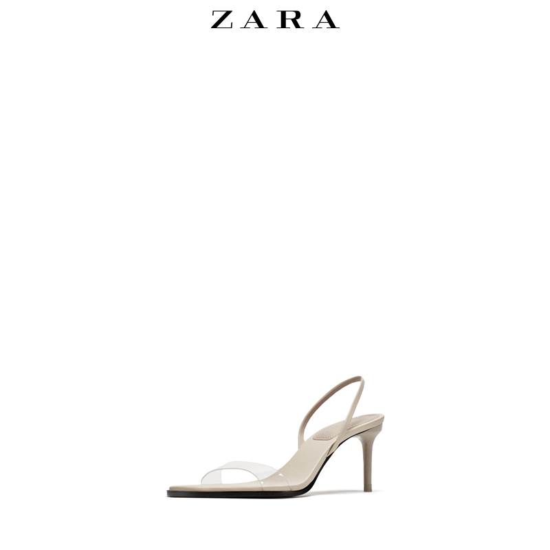 7809645ce54a ZARA women s shoes transparent plastic fine with high-heeled sandals ...
