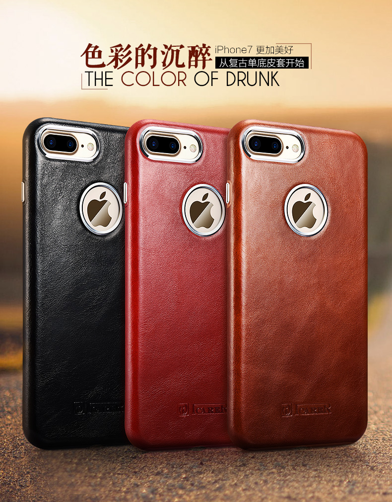 iCarer Transformers Vintage Handmade Genuine Cowhide Leather Back Cover Case for Apple iPhone 7 Plus & iPhone 7