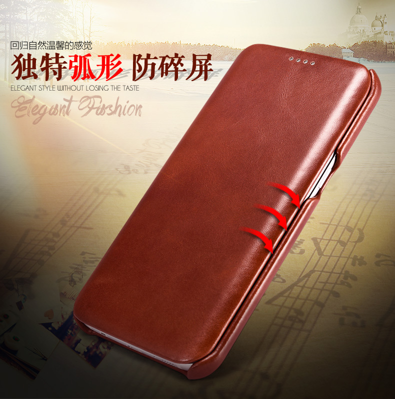 iCarer Curved Edge Vintage Series Side Open Handmade Genuine Cowhide Leather Case Cover for Samsung Galaxy S7 edge & S7