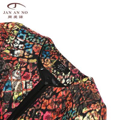 JAN AN KHÔNG CÓ Jane Enouqiu new slim giảm béo nhỏ phù hợp với in ấn OL áo khoác ngắn nữ J310098SY Áo khoác ngắn