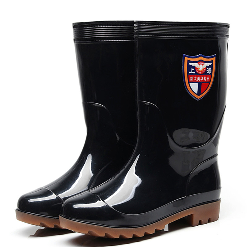 Middle tube men's rain boots rain shoes set shoes waterproof rubber shoes labor protection rain shoes water boots men
