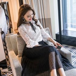 【折800官网】时髦套装2018春新款女装小香风韩版蕾丝连衣裙时尚港风两件套夏装