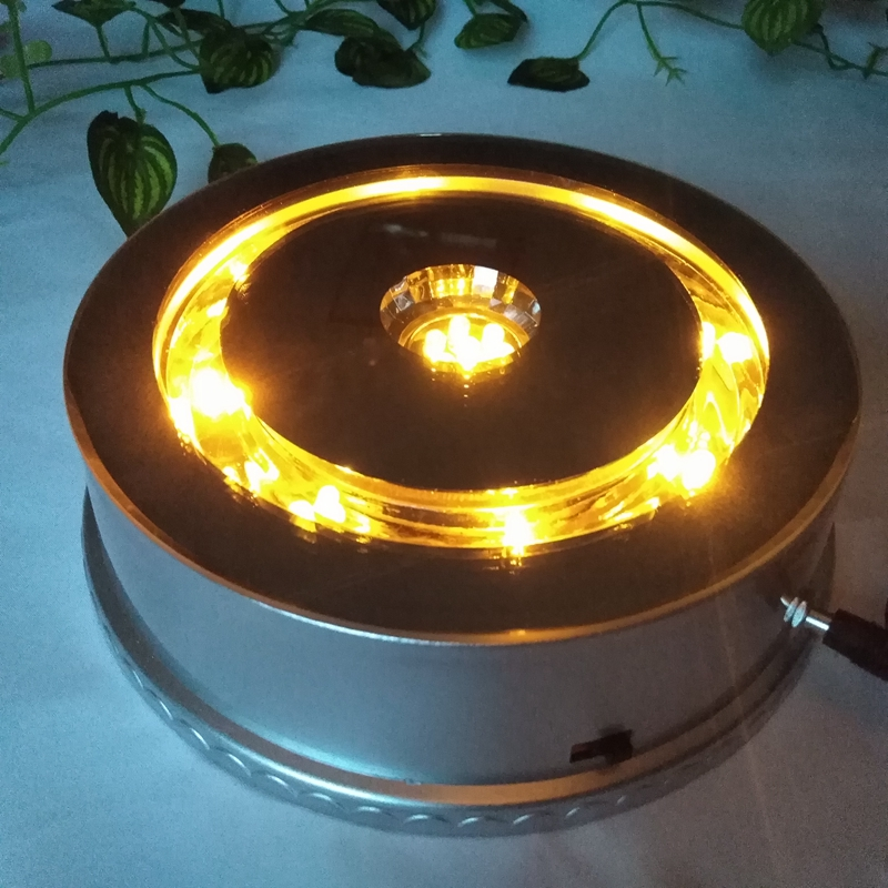 Led towns turntable white light emitting base jewelry exhibition stand automatic turntable rotating showcase cosmetics