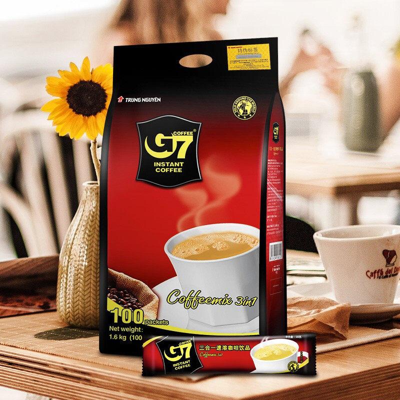 越南进口中原g7咖啡原味三合一速溶咖啡粉学生提神100条袋装1600g