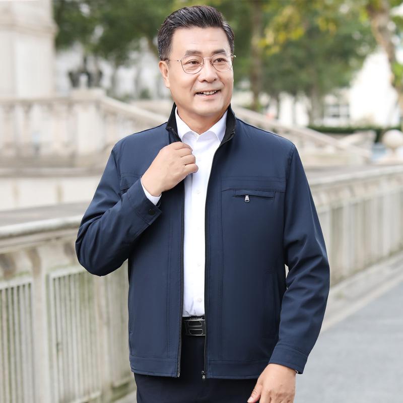 爸爸外套春季薄款中老年男装夹克40岁50中年男士休闲宽松爷爷外套