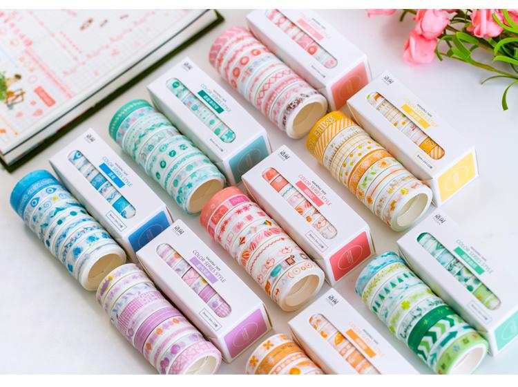 Bulk 10Pcs//1.5cm*3 Meter Paper Sticky Adhesive Sticker Decorative Washi Tapes