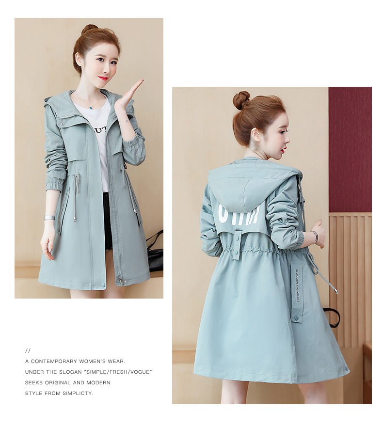 2020 Spring and Autumn new Korean version of the long-term waist fashion casual small man a hundred and Eight months windcoat jacket girl 60 Online shopping Bangladesh