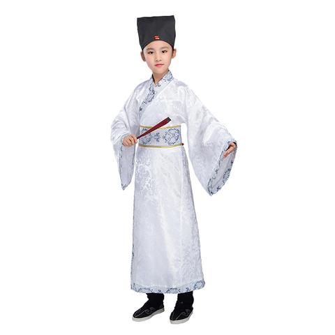 春夏款男童古装汉服国学演出服小学生女童舞蹈服长袖表演服装书童