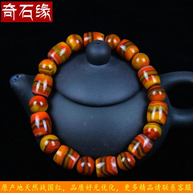 玛瑙战国红男女同料手串单圈精品天然款佛珠手链刘大湾收藏念珠
