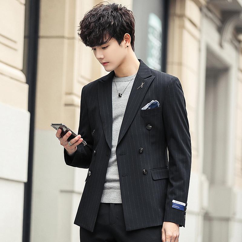西服v西服潮流修身韩版单件帅气外套小西装条纹男男士上衣2019新款