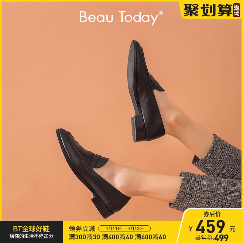 BeauToday乐福鞋单鞋2021春秋新款真皮平底女鞋厚底英伦风小皮鞋
