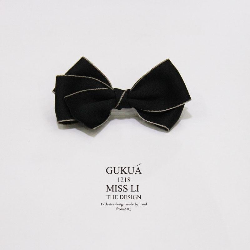 111gukua-李发夹手作立体夹日系a发夹小姐黑色金边妻子弹簧头饰