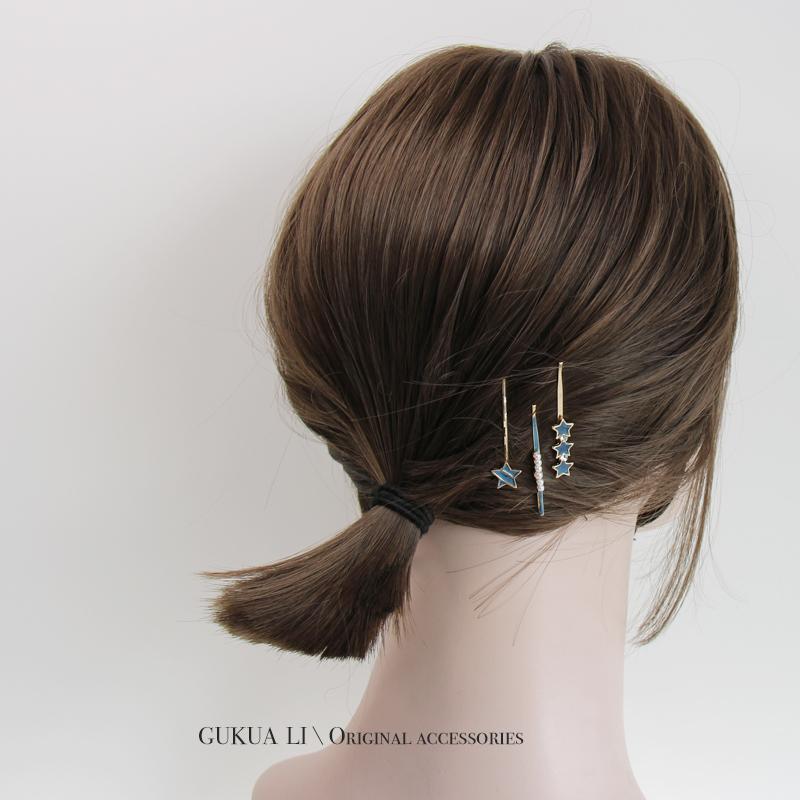 甜心少女 滴油彩色几何爱心发夹组合套装一字夹刘海夹气质头饰