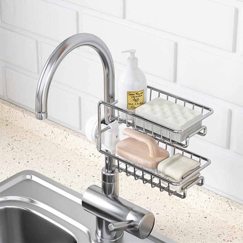 厨房收纳神器免打孔不锈钢水龙头置物架沥水篮海绵水槽收纳架挂篮