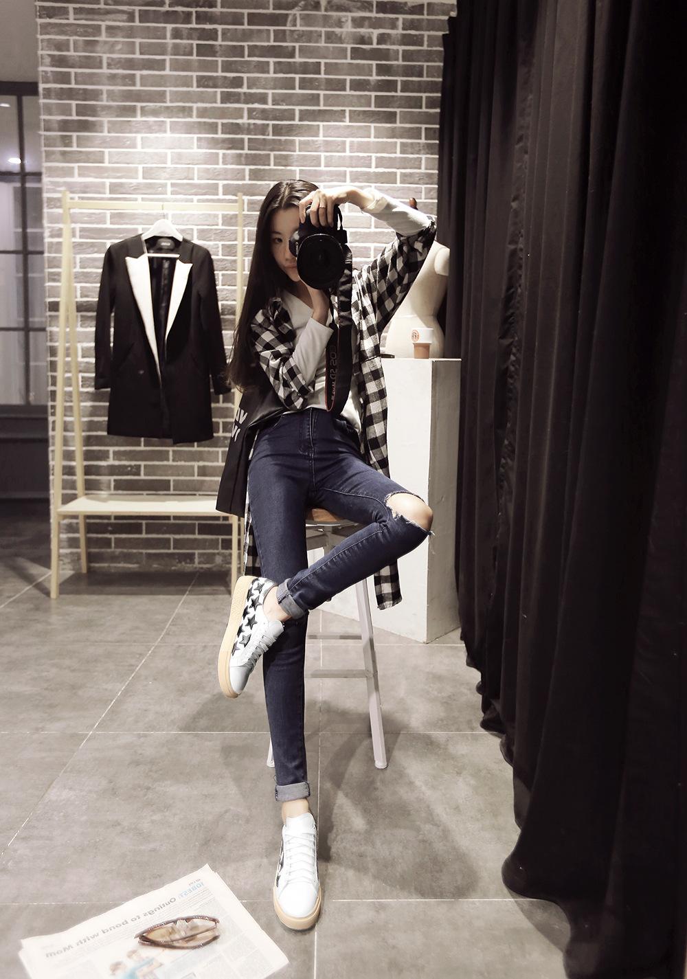 2016春季平底鞋女明星同款休闲鞋圆头帆布鞋系带单鞋真皮韩版潮鞋