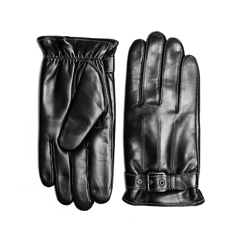 BOOUNI  男士羊皮手套真皮触屏手套薄开车手套加绒绵羊皮摩托手套