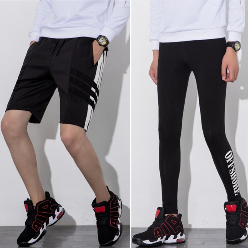 太空棉裤子男日系打底弹力跑男同款运动健身裤短裤个性学生紧身潮