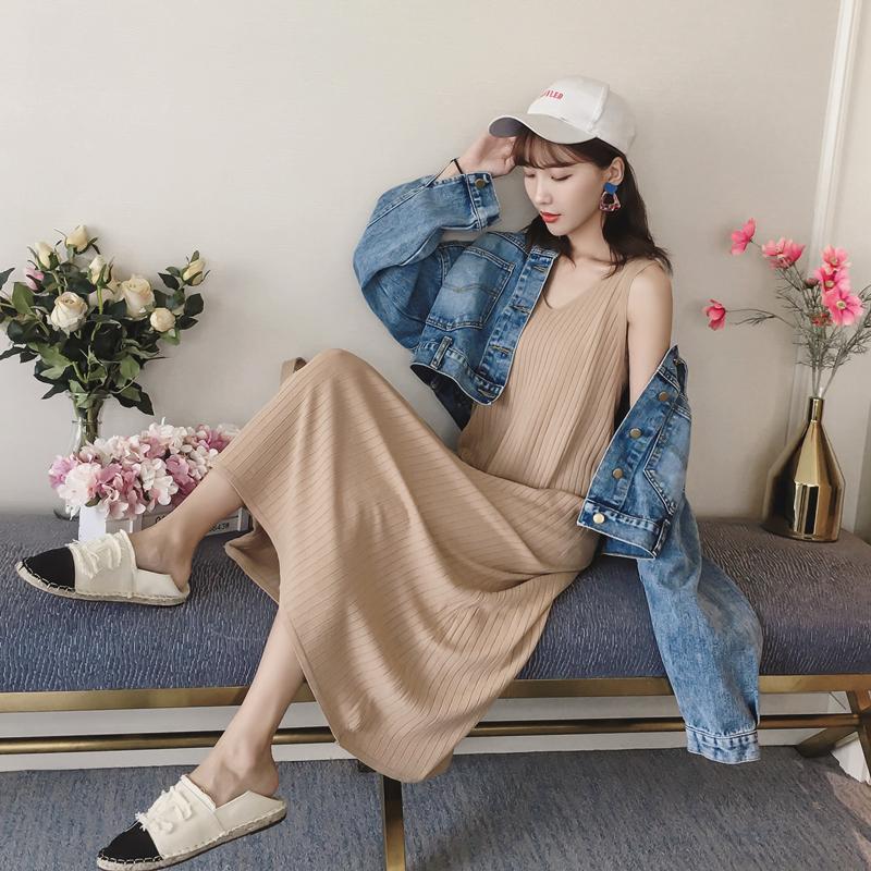 Осень корейская версия фасон средней длины стиль дикий трикотажный Одежда жилетка 2018 новая коллекция Ледяной шёлк над коленом