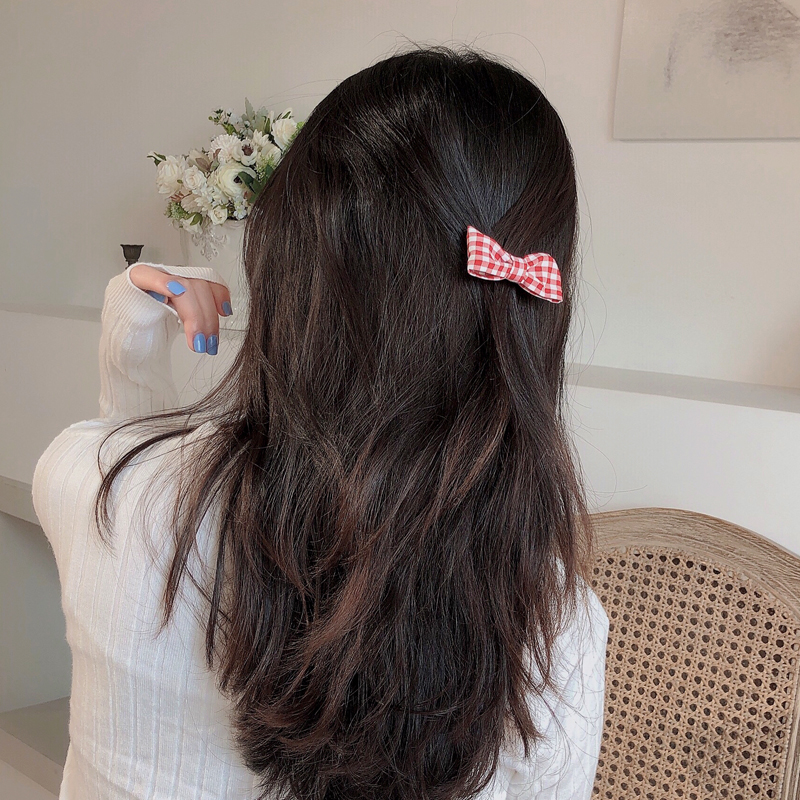 Korean headdress small side clip lattice top clip girl cute bow hairpin wholesale NHCQ258251