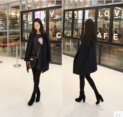 Korea 2017 autumn and winter new women's Korean version of the long section of the loose-fitting Nizi coat thick woolen jacket