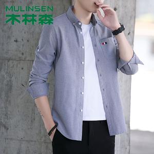 木林森男襯衫男長袖子襯衫2019春夏季新款工裝襯衫港風半袖襯衫