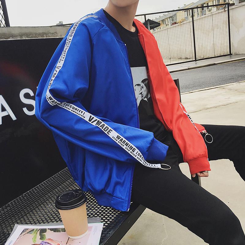 Áo khoác nam mùa thu mới của Hàn Quốc phiên bản của xu hướng cá tính hit màu ribbon sinh viên chú hề đồng phục bóng chày khâu hai màu áo khoác