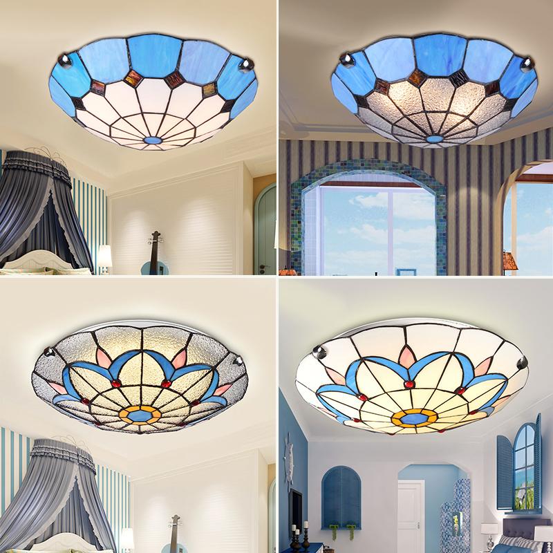 地中海圆形吸顶灯LED过道蒂凡尼厨房灯欧式小客厅卧室灯走廊风格