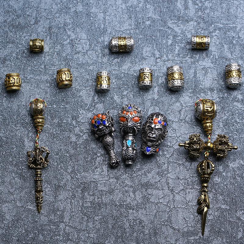 藏银合金黄铜霸气复古齐天大圣六字真言佛头三通佛珠星月菩提配饰