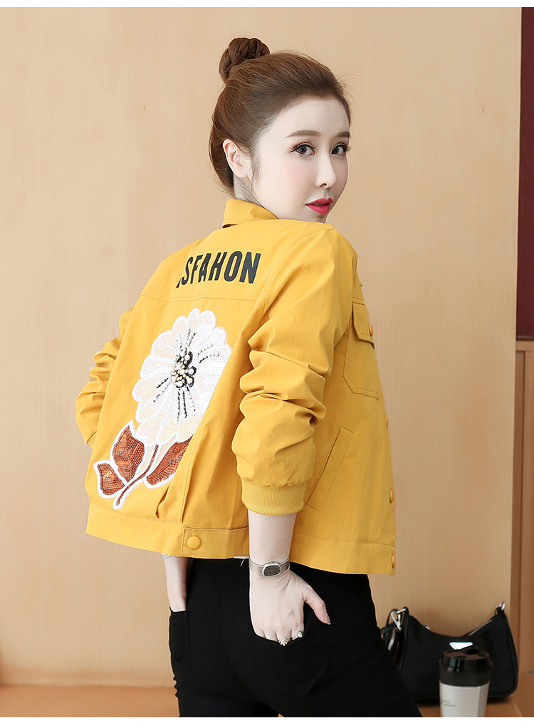 Fall 2020 New small fashion show high-length embroidered jacket lady-in-hand baseball shirt 52 Online shopping Bangladesh