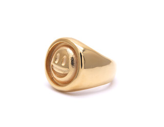 18K gold plated smile ring for men and women couples