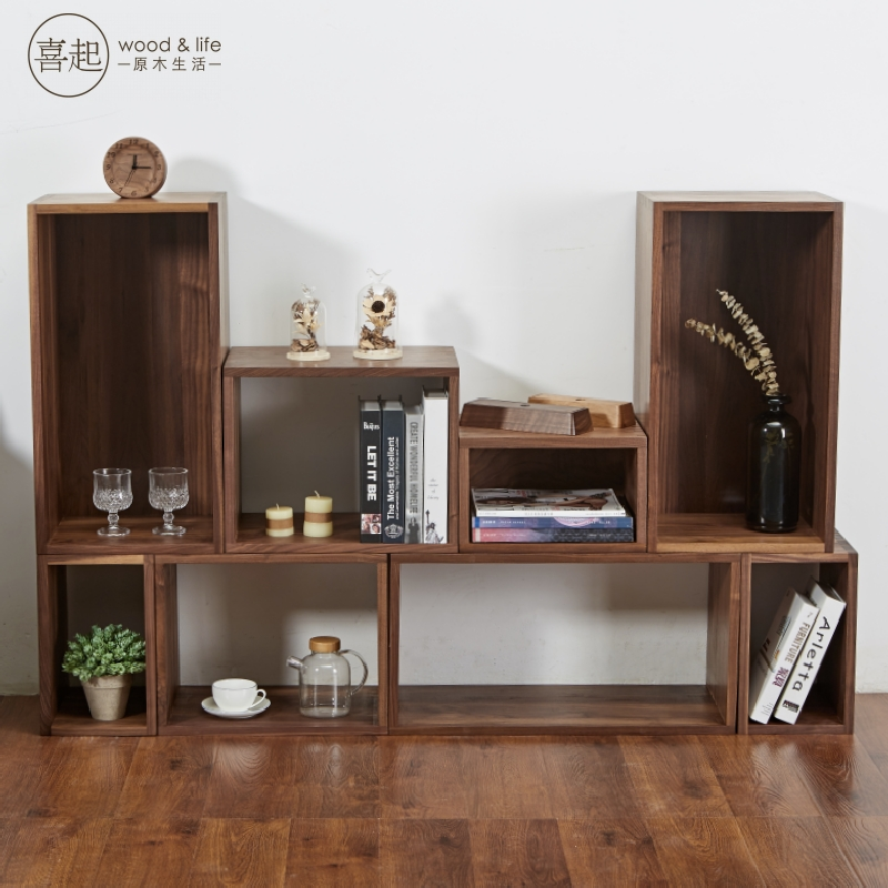 Hi Lumber Solid Wood Lattice Rack Free Combination Bookshelf Bookcase Minimalist Wooden Woven Flower Stand