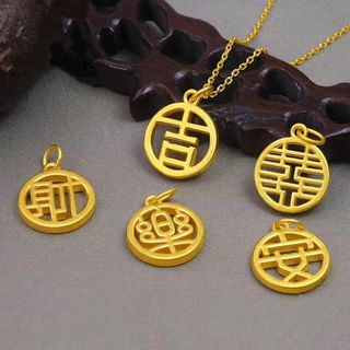 Gold pendant round card pure gold retro style small brand ancient law Xiaofu brand 3D hard gold comes with fine clavicle necklace