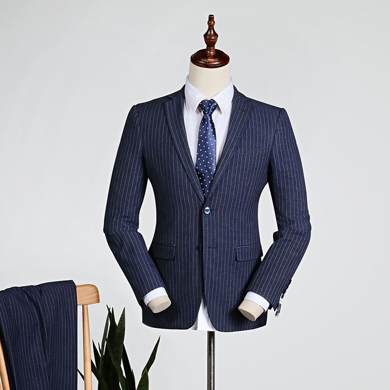 Navy Blue Pinstripe/yellow [tops + Trousers]