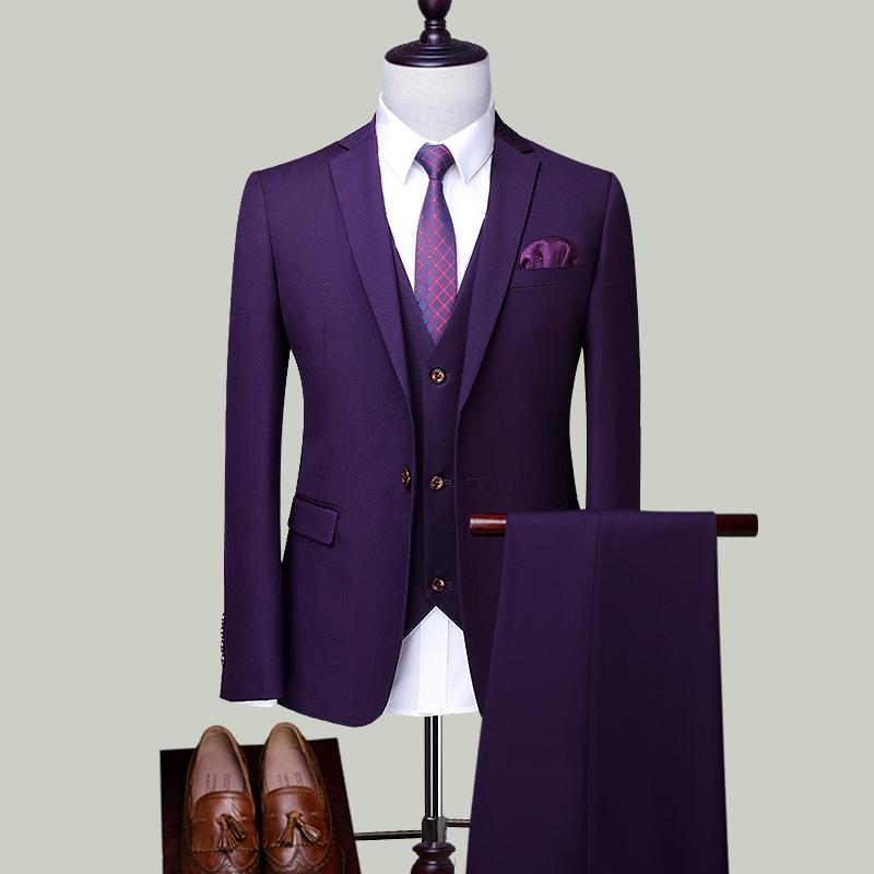 Цвет: Вайолет одной кнопки костюм-тройку (куртка+брюки+жилет)