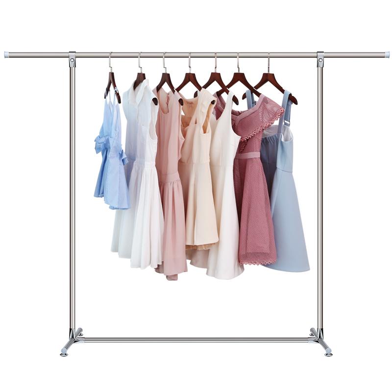 不銹鋼晾衣架落地單桿式 折疊室內陽臺簡易掛衣服架子臥室曬衣架
