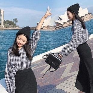 【限量折扣】43秋新款韩版宽松黑白格子衬衫上衣女装长袖休闲打底衬衣潮女