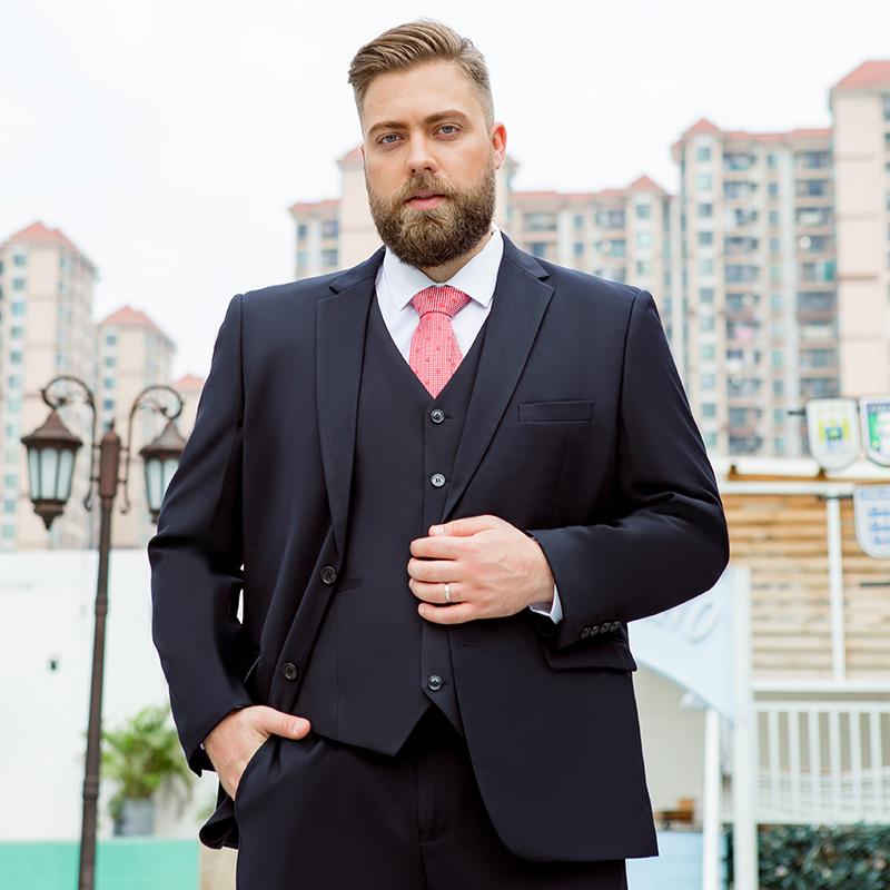 男士西服套装大码职业面试正装商务结婚加肥加大码胖子西装男礼服