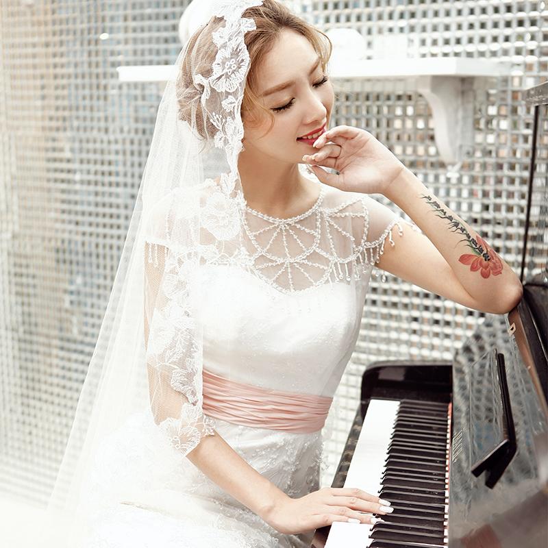 全新优雅性感气质网纱包肩清新复古收腰显瘦小拖尾婚纱礼服手工