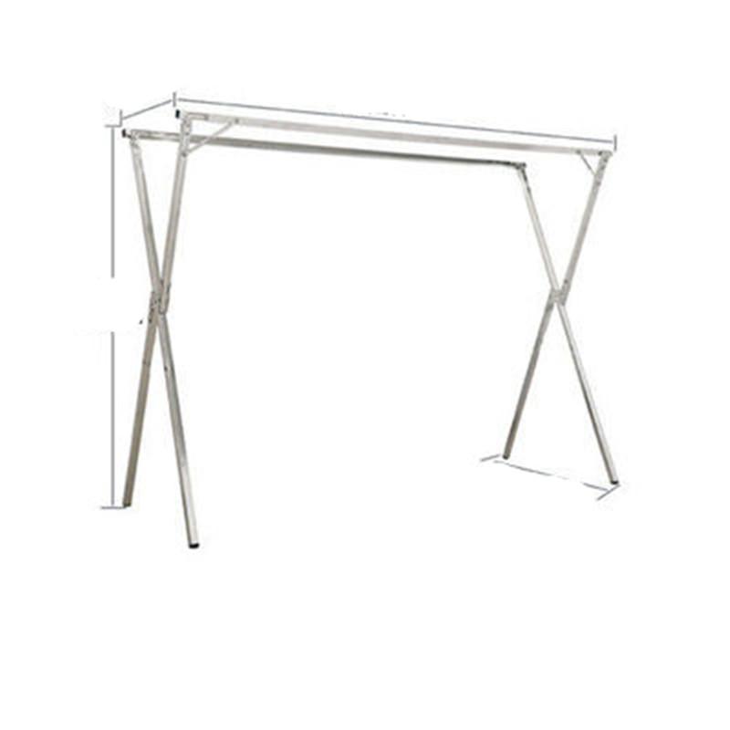 晾衣←架落地折叠家用阳台晒被子不锈钢凉伸缩式杆室外双杆挂衣