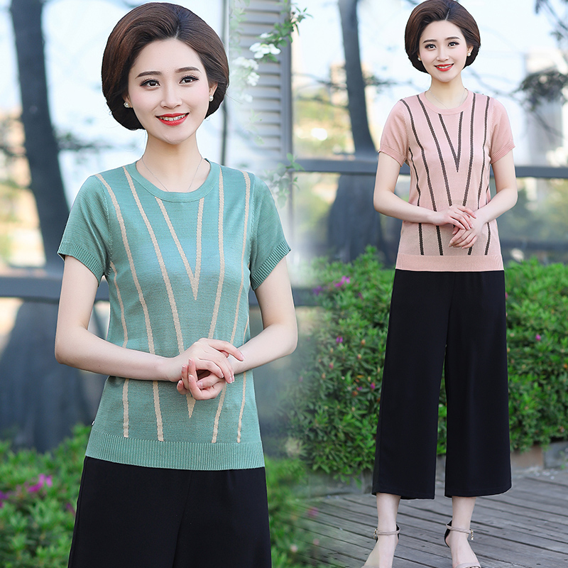 06225f95e335 Mother summer two-piece 40-year-old 50 fashion middle-aged women s shirt  2019 new middle-aged summer suit short-sleeved