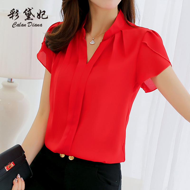 Caicha 2018 spring and summer new Korean white shirt blouse fashion Slim large size short-sleeved casual chiffon shirt