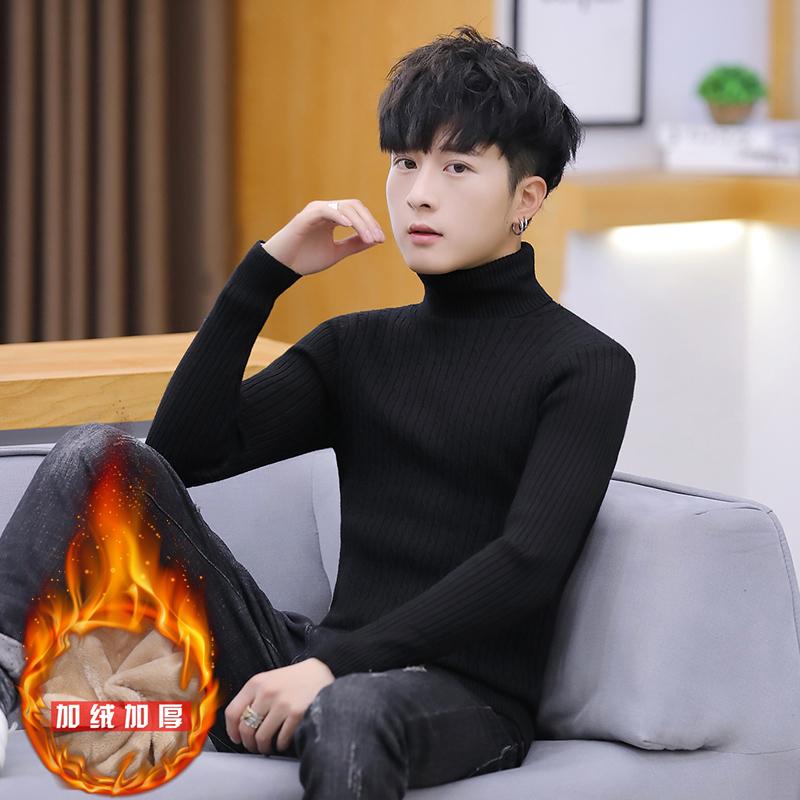 2019年打底半学生毛衣冬季a打底新款加绒加厚男士韩版高领针织衫
