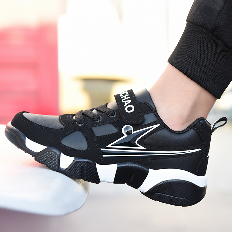 Spring and autumn models in the Big children's shoes boys ' sports shoes primary school children's leather plus cashmere children's shoes boys travel shoes