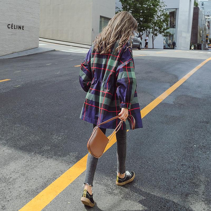 格子风衣女中长款韩版2018新款春秋季短款小个子薄款港风复古外套